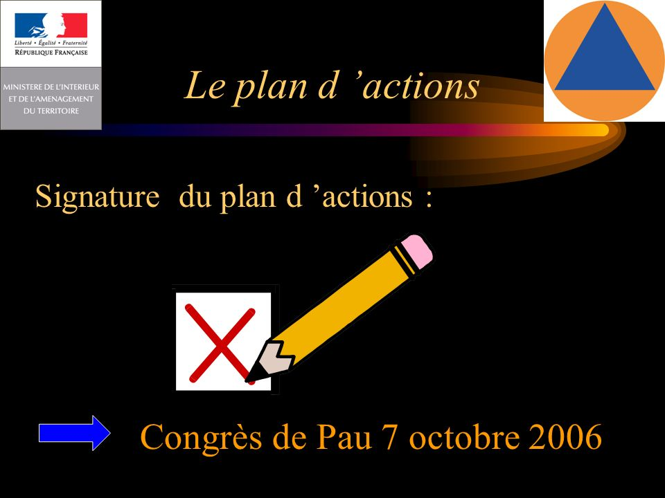 Le plan d actions Signature du plan d actions : Congrès de Pau 7 octobre 2006