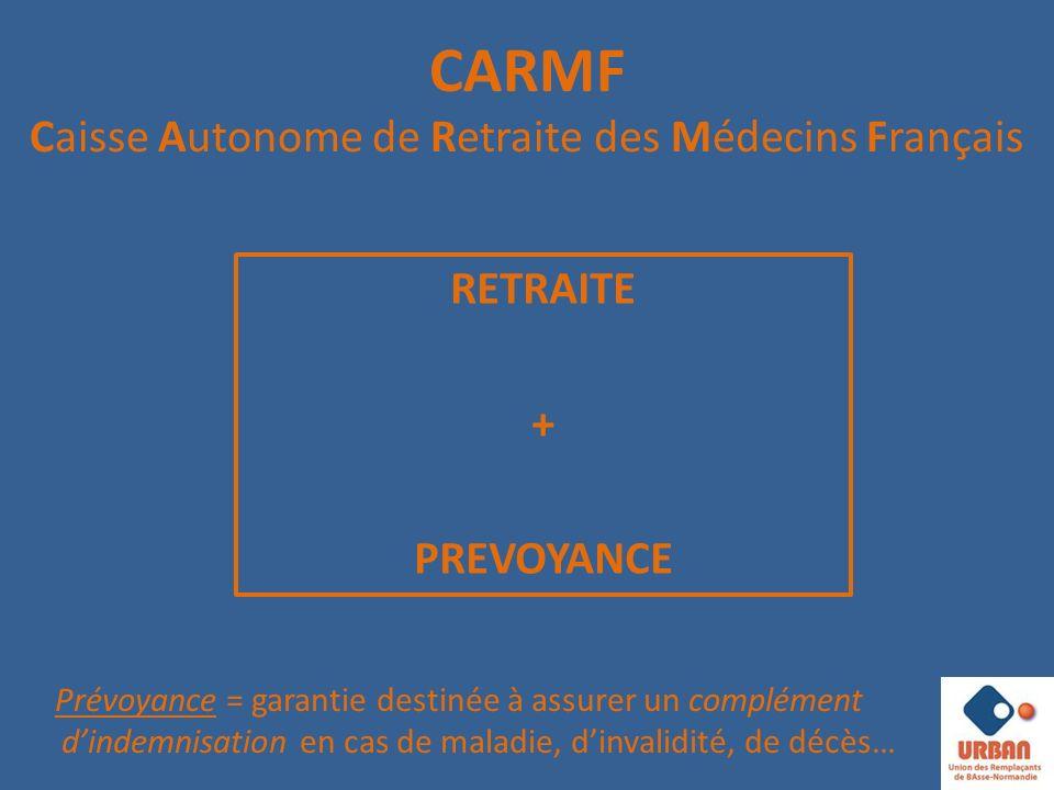 CARMF Caisse Autonome de Retraite des Médecins Français RETRAITE + PREVOYANCE Prévoyance = garantie destinée à assurer un complément dindemnisation en cas de maladie, dinvalidité, de décès…