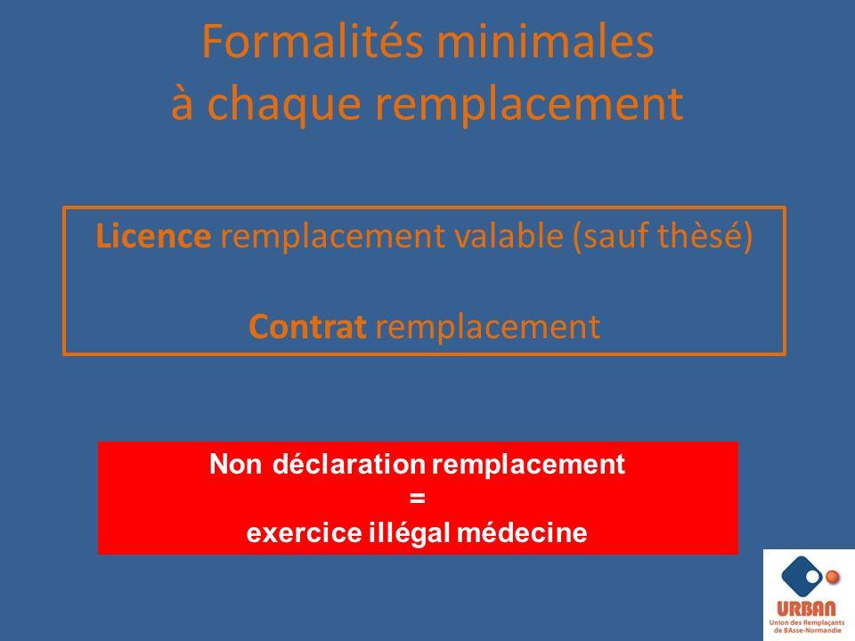 Formalités minimales à chaque remplacement Non déclaration remplacement = exercice illégal médecine Licence remplacement valable (sauf thèsé) Contrat remplacement