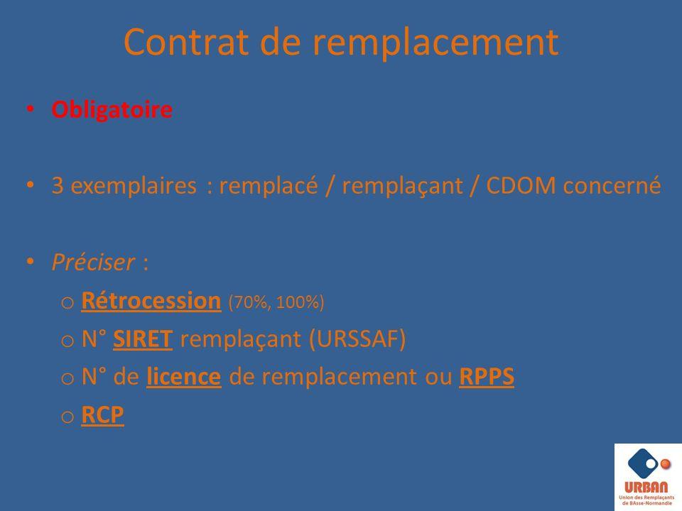 Contrat de remplacement Obligatoire 3 exemplaires : remplacé / remplaçant / CDOM concerné Préciser : o Rétrocession (70%, 100%) o N° SIRET remplaçant (URSSAF) o N° de licence de remplacement ou RPPS o RCP