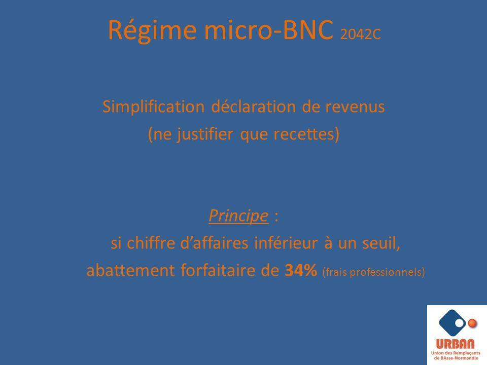 Régime micro-BNC 2042C Simplification déclaration de revenus (ne justifier que recettes) Principe : si chiffre daffaires inférieur à un seuil, abattement forfaitaire de 34% (frais professionnels)
