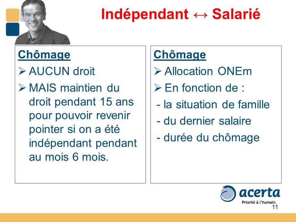 11 Indépendant Salarié Chômage AUCUN droit MAIS maintien du droit pendant 15 ans pour pouvoir revenir pointer si on a été indépendant pendant au mois 6 mois.