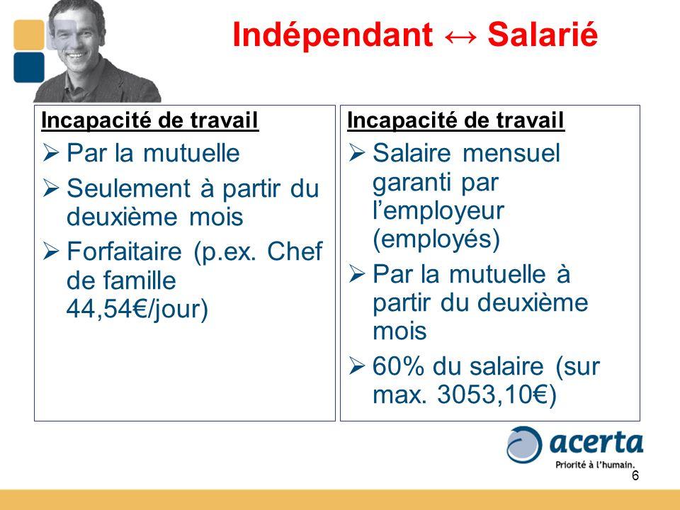 6 Indépendant Salarié Incapacité de travail Par la mutuelle Seulement à partir du deuxième mois Forfaitaire (p.ex.