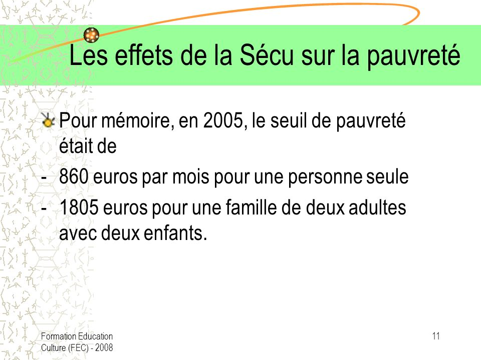 Formation Education Culture (FEC) - 2008 11 Les effets de la Sécu sur la pauvreté Pour mémoire, en 2005, le seuil de pauvreté était de -860 euros par mois pour une personne seule -1805 euros pour une famille de deux adultes avec deux enfants.