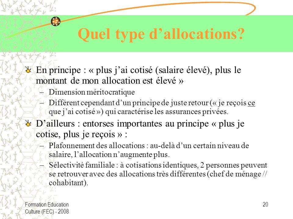 Formation Education Culture (FEC) - 2008 20 Quel type dallocations? En principe : « plus jai cotisé (salaire élevé), plus le montant de mon allocation