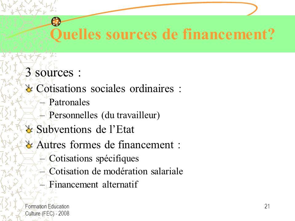 Formation Education Culture (FEC) - 2008 21 Quelles sources de financement? 3 sources : Cotisations sociales ordinaires : –Patronales –Personnelles (d