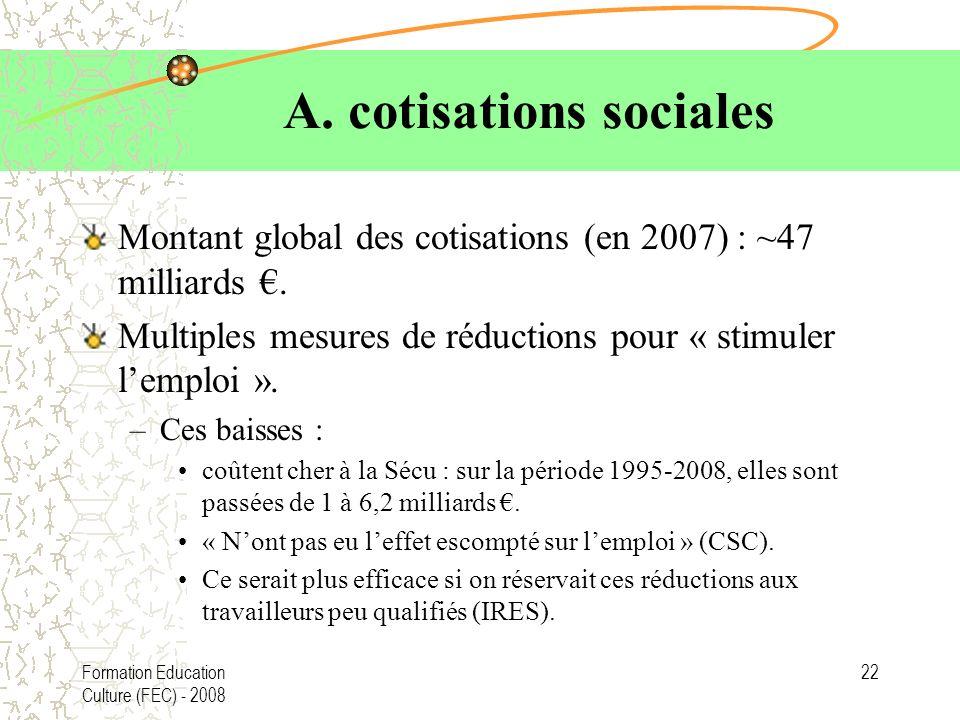 Formation Education Culture (FEC) - 2008 22 A. cotisations sociales Montant global des cotisations (en 2007) : ~47 milliards. Multiples mesures de réd