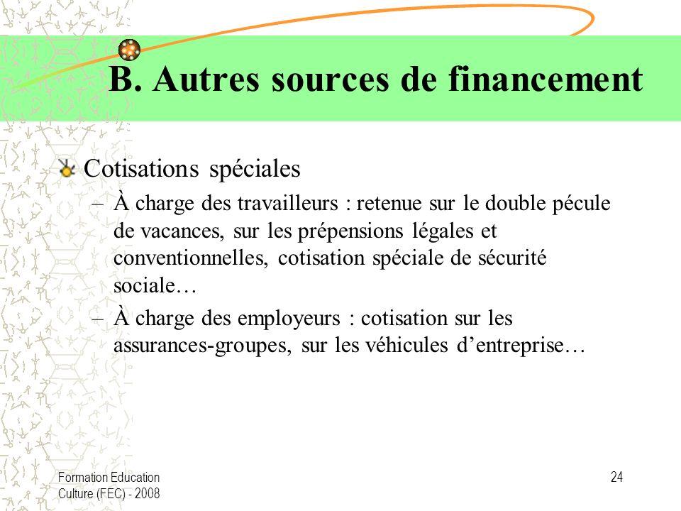 Formation Education Culture (FEC) - 2008 24 B. Autres sources de financement Cotisations spéciales –À charge des travailleurs : retenue sur le double