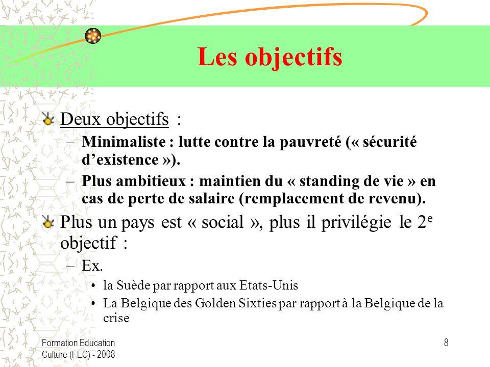Formation Education Culture (FEC) - 2008 8 Les objectifs Deux objectifs : –Minimaliste : lutte contre la pauvreté (« sécurité dexistence »). –Plus amb
