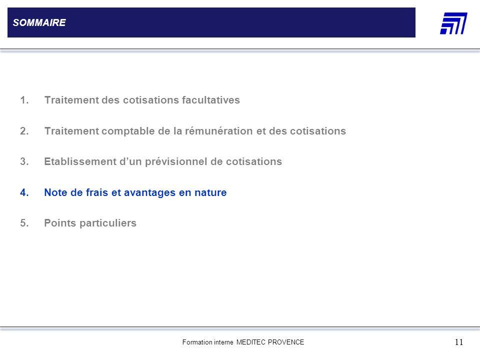 Formation interne MEDITEC PROVENCE 11 SOMMAIRE 1.Traitement des cotisations facultatives 2.Traitement comptable de la rémunération et des cotisations