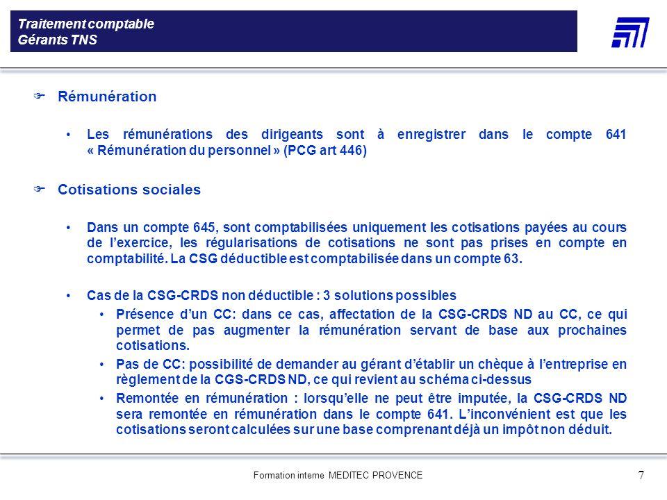 Formation interne MEDITEC PROVENCE 7 Traitement comptable Gérants TNS 5 000 références produits Une gamme de 5 000 références produits Le choix des pr