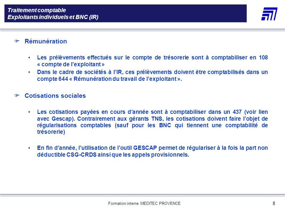 Formation interne MEDITEC PROVENCE 8 Traitement comptable Exploitants individuels et BNC (IR) 5 000 références produits Une gamme de 5 000 références