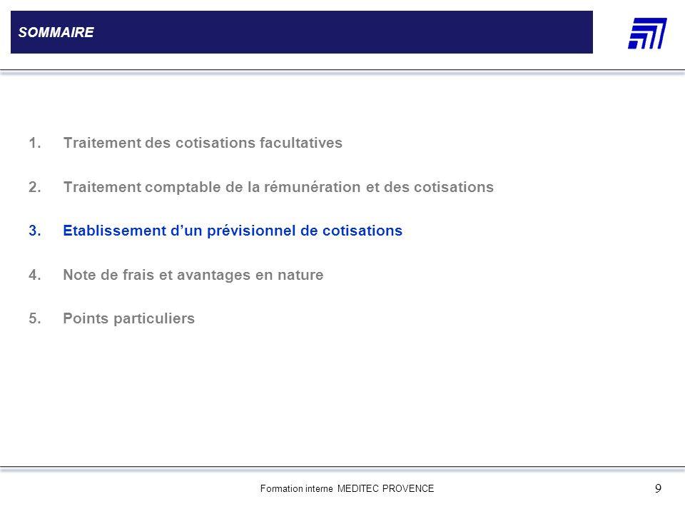 Formation interne MEDITEC PROVENCE 9 SOMMAIRE 1.Traitement des cotisations facultatives 2.Traitement comptable de la rémunération et des cotisations 3