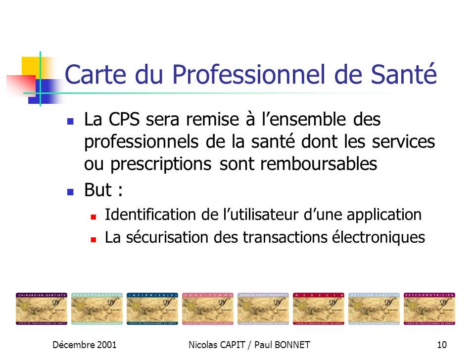 Décembre 2001Nicolas CAPIT / Paul BONNET10 Carte du Professionnel de Santé La CPS sera remise à lensemble des professionnels de la santé dont les serv