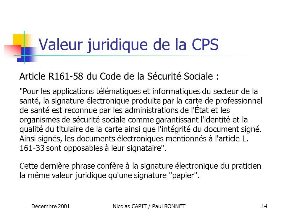 Décembre 2001Nicolas CAPIT / Paul BONNET14 Valeur juridique de la CPS Article R161-58 du Code de la Sécurité Sociale :