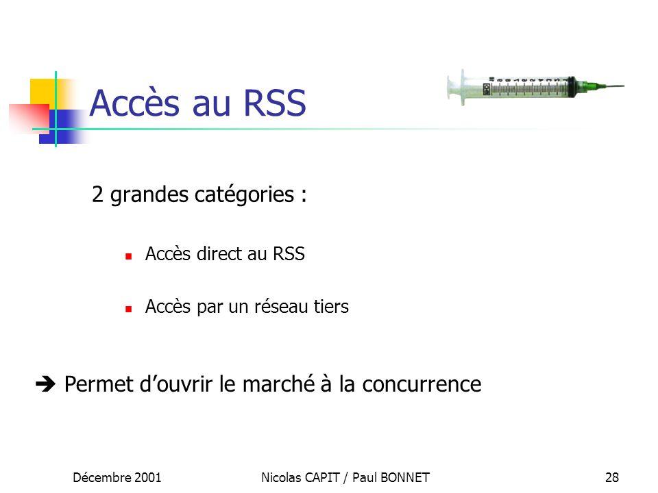 Décembre 2001Nicolas CAPIT / Paul BONNET28 Accès au RSS 2 grandes catégories : Accès direct au RSS Accès par un réseau tiers Permet douvrir le marché