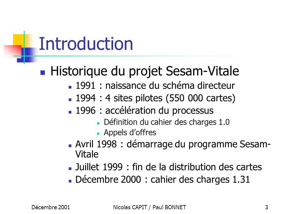 Décembre 2001Nicolas CAPIT / Paul BONNET3 Introduction Historique du projet Sesam-Vitale 1991 : naissance du schéma directeur 1994 : 4 sites pilotes (