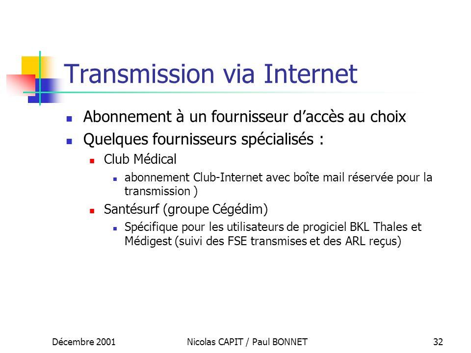 Décembre 2001Nicolas CAPIT / Paul BONNET32 Transmission via Internet Abonnement à un fournisseur daccès au choix Quelques fournisseurs spécialisés : C