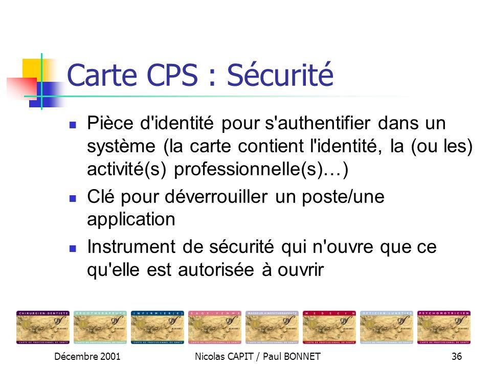Décembre 2001Nicolas CAPIT / Paul BONNET36 Carte CPS : Sécurité Pièce d'identité pour s'authentifier dans un système (la carte contient l'identité, la
