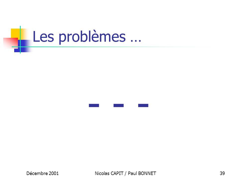 Décembre 2001Nicolas CAPIT / Paul BONNET39 Les problèmes … - - -
