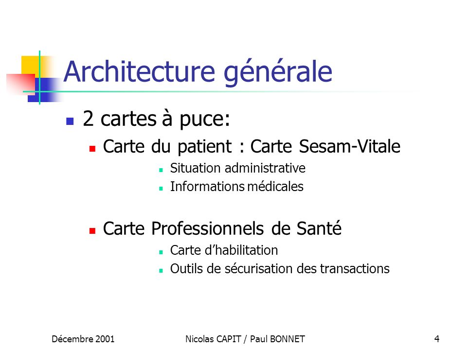 Décembre 2001Nicolas CAPIT / Paul BONNET4 Architecture générale 2 cartes à puce: Carte du patient : Carte Sesam-Vitale Situation administrative Inform