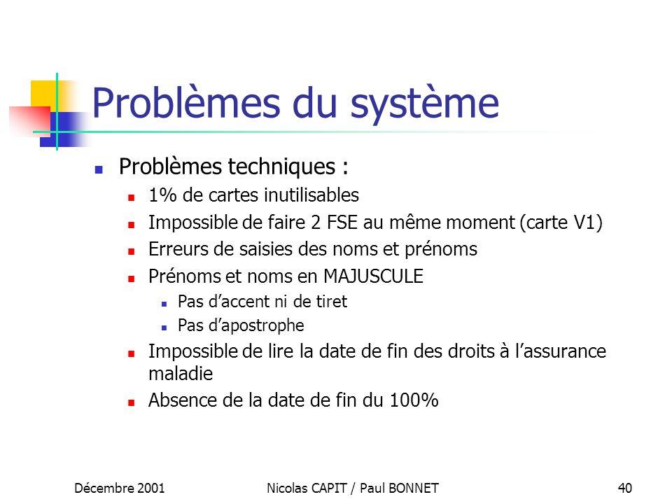 Décembre 2001Nicolas CAPIT / Paul BONNET40 Problèmes du système Problèmes techniques : 1% de cartes inutilisables Impossible de faire 2 FSE au même mo