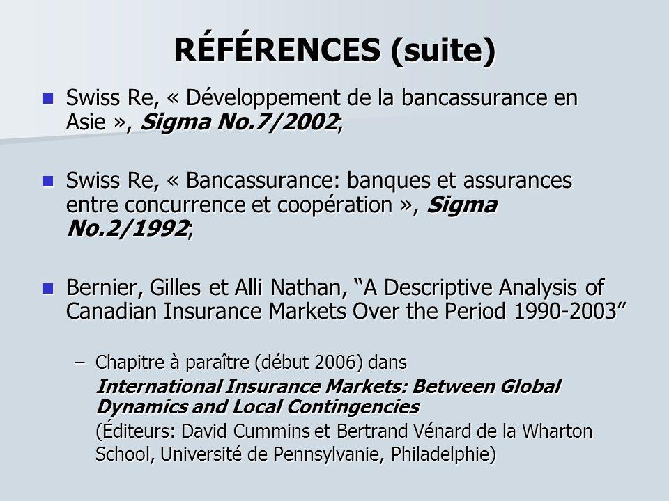 RÉFÉRENCES (suite) Swiss Re, « Développement de la bancassurance en Asie », Sigma No.7/2002; Swiss Re, « Développement de la bancassurance en Asie »,