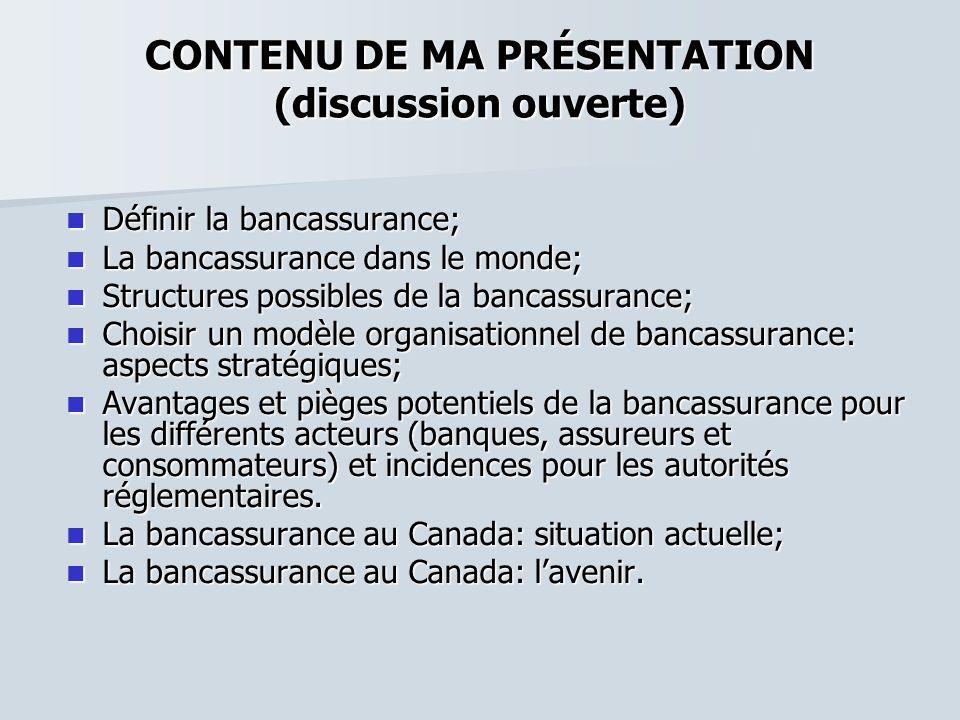 CONTENU DE MA PRÉSENTATION (discussion ouverte) Définir la bancassurance; Définir la bancassurance; La bancassurance dans le monde; La bancassurance d