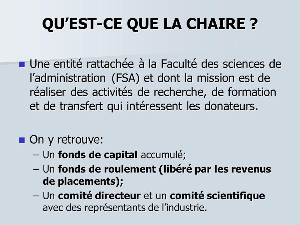 QUEST-CE QUE LA CHAIRE ? Une entité rattachée à la Faculté des sciences de ladministration (FSA) et dont la mission est de réaliser des activités de r