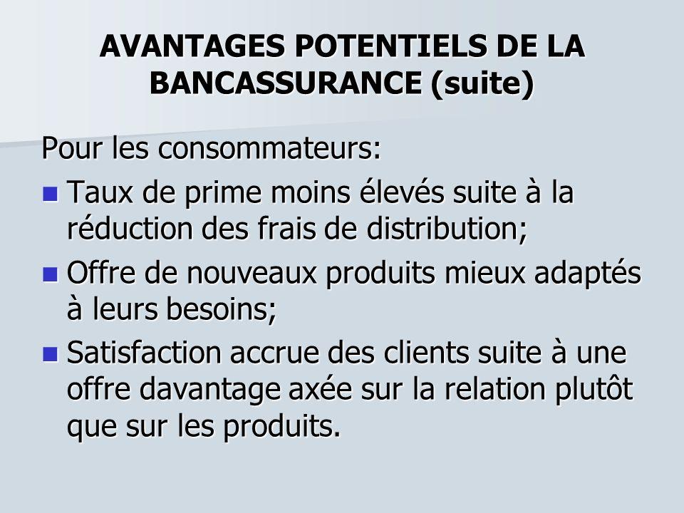AVANTAGES POTENTIELS DE LA BANCASSURANCE (suite) Pour les consommateurs: Taux de prime moins élevés suite à la réduction des frais de distribution; Ta