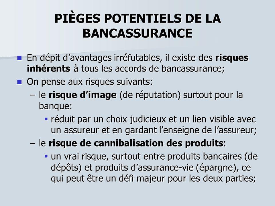 PIÈGES POTENTIELS DE LA BANCASSURANCE En dépit davantages irréfutables, il existe des risques inhérents à tous les accords de bancassurance; En dépit