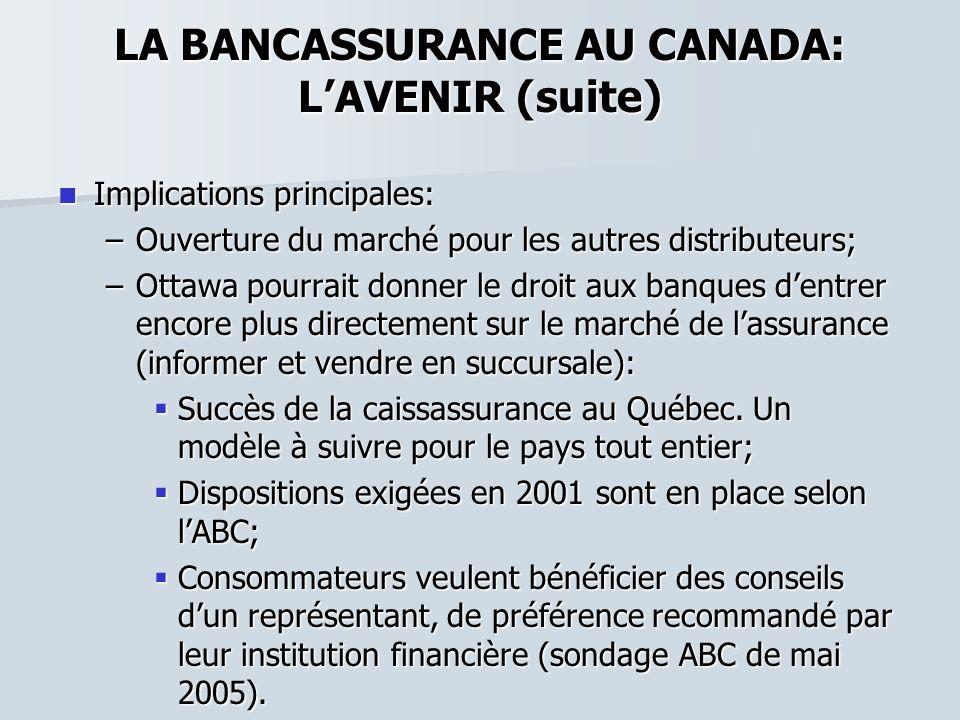 LA BANCASSURANCE AU CANADA: LAVENIR (suite) Implications principales: Implications principales: –Ouverture du marché pour les autres distributeurs; –O