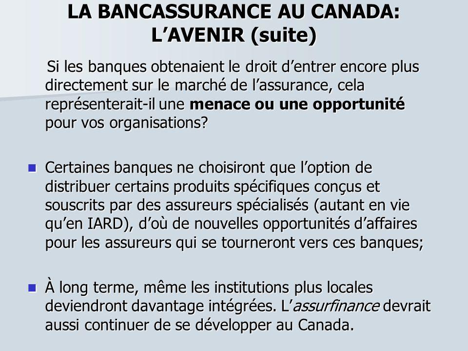 LA BANCASSURANCE AU CANADA: LAVENIR (suite) Si les banques obtenaient le droit dentrer encore plus directement sur le marché de lassurance, cela repré
