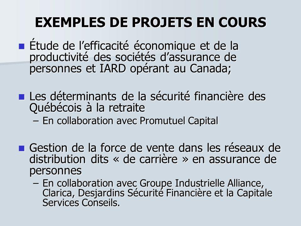 EXEMPLES DE PROJETS EN COURS Étude de lefficacité économique et de la productivité des sociétés dassurance de personnes et IARD opérant au Canada; Étu