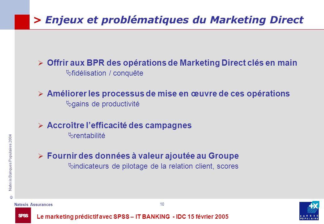 Le marketing prédictif avec SPSS – IT BANKING - IDC 15 février 2005 © Natexis Assurances Natexis Banques Populaires 2004 10 > Enjeux et problématiques