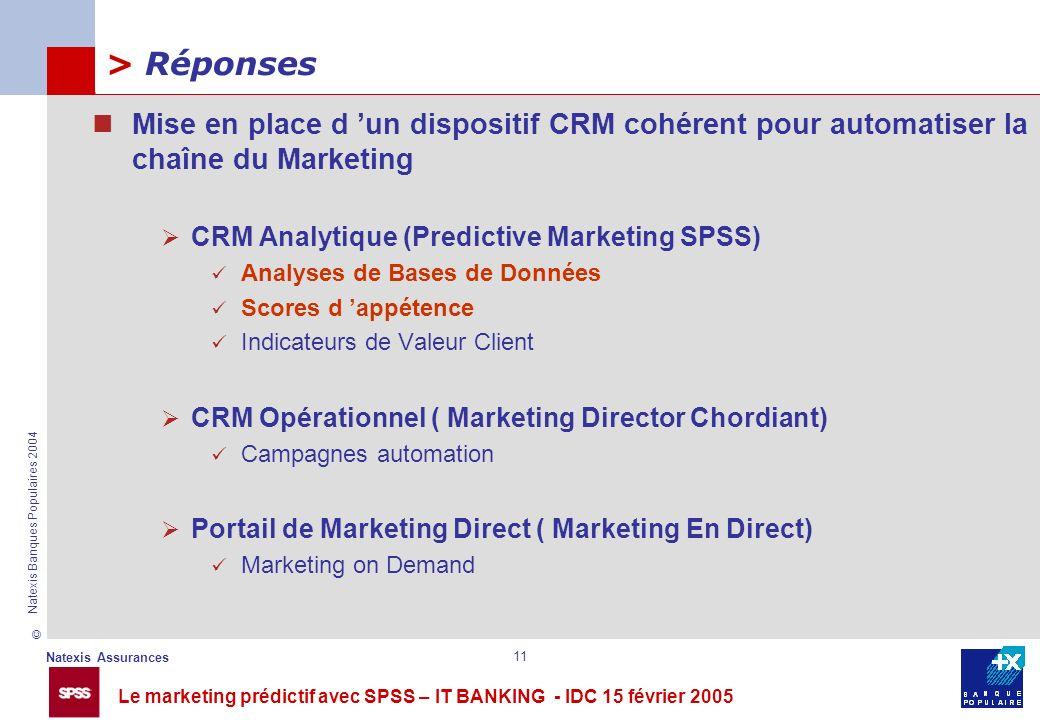 Le marketing prédictif avec SPSS – IT BANKING - IDC 15 février 2005 © Natexis Assurances Natexis Banques Populaires 2004 11 > Réponses Mise en place d