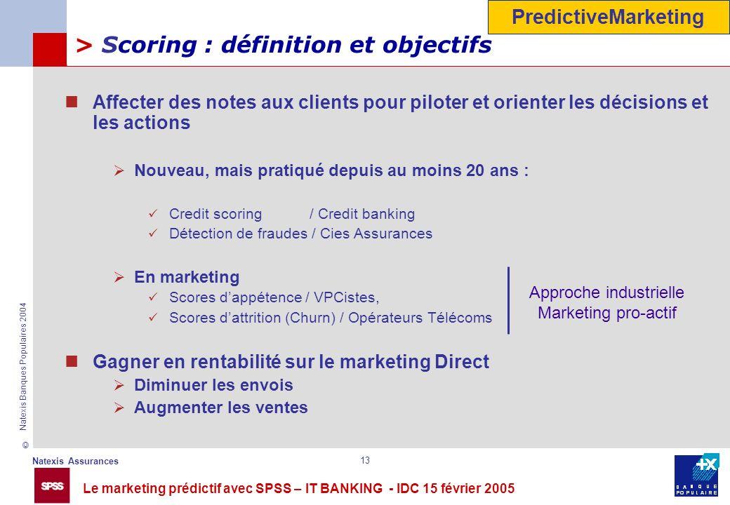 Le marketing prédictif avec SPSS – IT BANKING - IDC 15 février 2005 © Natexis Assurances Natexis Banques Populaires 2004 13 > Scoring : définition et