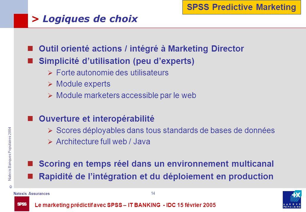 Le marketing prédictif avec SPSS – IT BANKING - IDC 15 février 2005 © Natexis Assurances Natexis Banques Populaires 2004 14 > Logiques de choix Outil