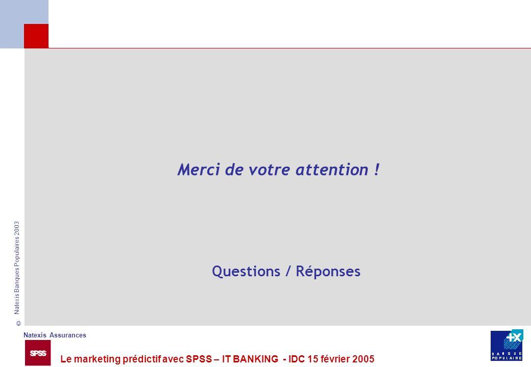 Natexis Assurances © Natexis Banques Populaires 2003 Le marketing prédictif avec SPSS – IT BANKING - IDC 15 février 2005 Merci de votre attention ! Qu