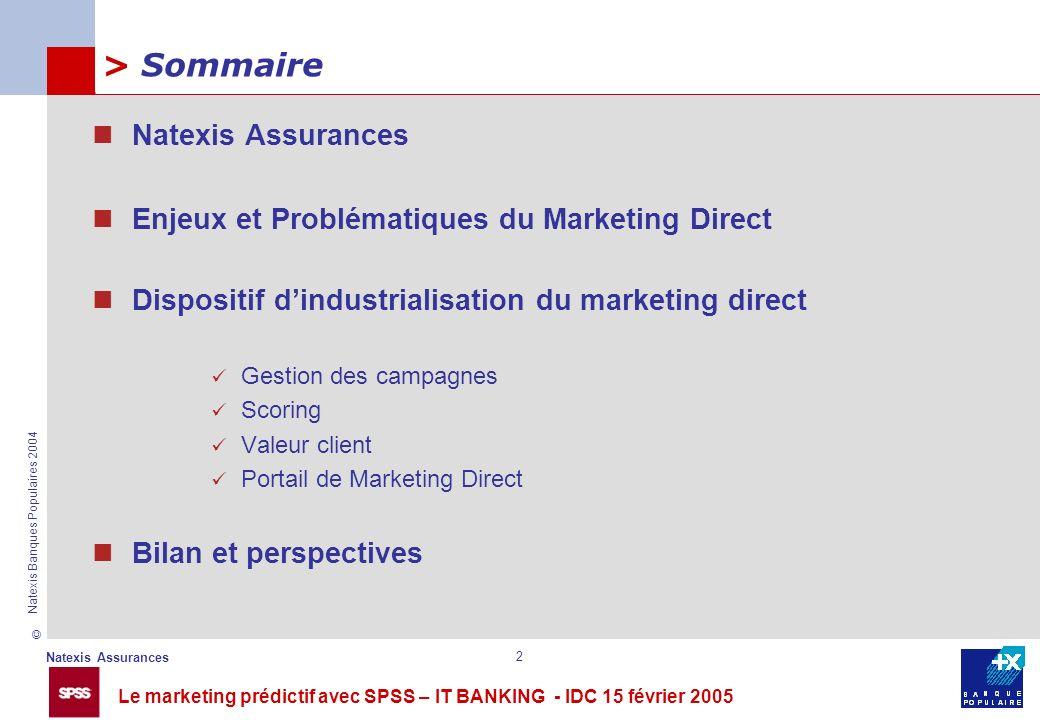 Le marketing prédictif avec SPSS – IT BANKING - IDC 15 février 2005 © Natexis Assurances Natexis Banques Populaires 2004 2 Natexis Assurances Enjeux e