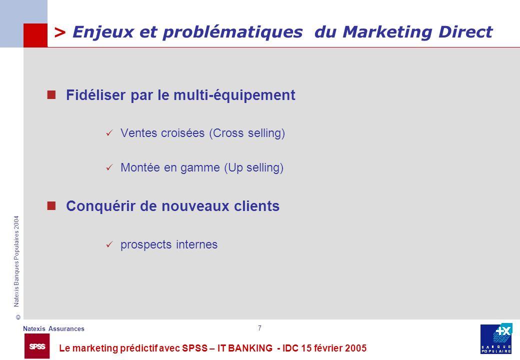 Le marketing prédictif avec SPSS – IT BANKING - IDC 15 février 2005 © Natexis Assurances Natexis Banques Populaires 2004 7 > Enjeux et problématiques
