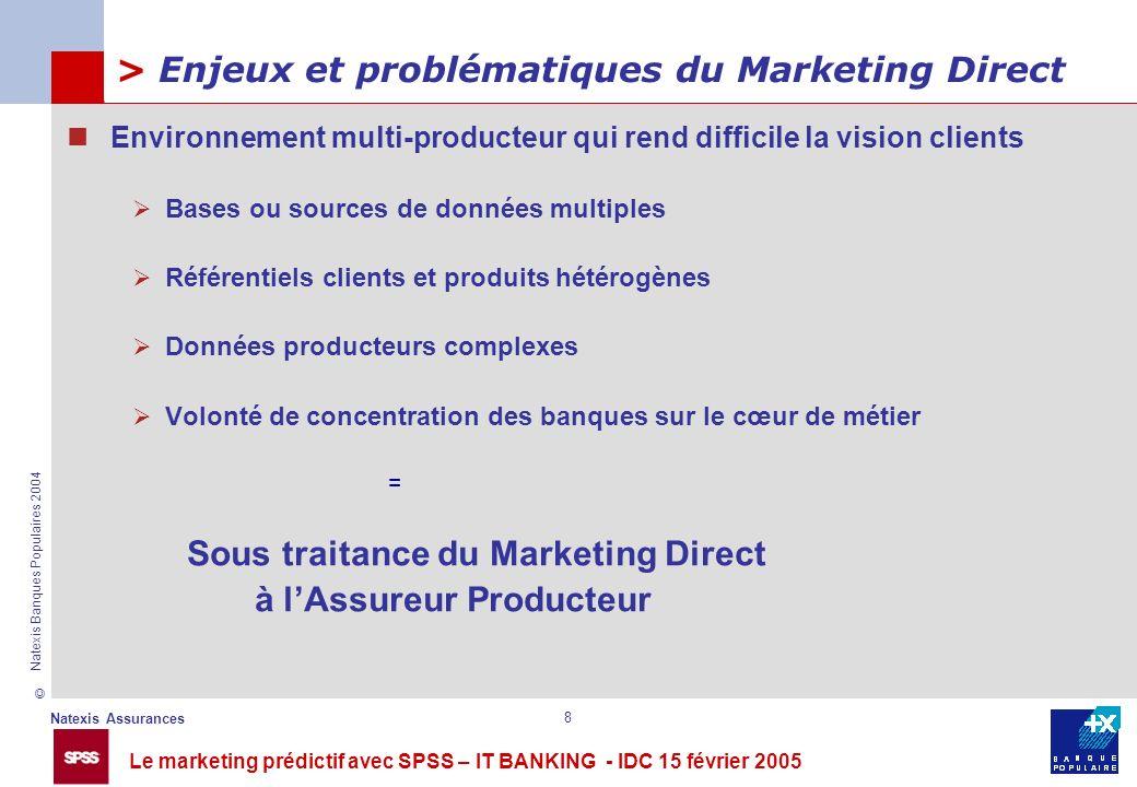Le marketing prédictif avec SPSS – IT BANKING - IDC 15 février 2005 © Natexis Assurances Natexis Banques Populaires 2004 8 > Enjeux et problématiques
