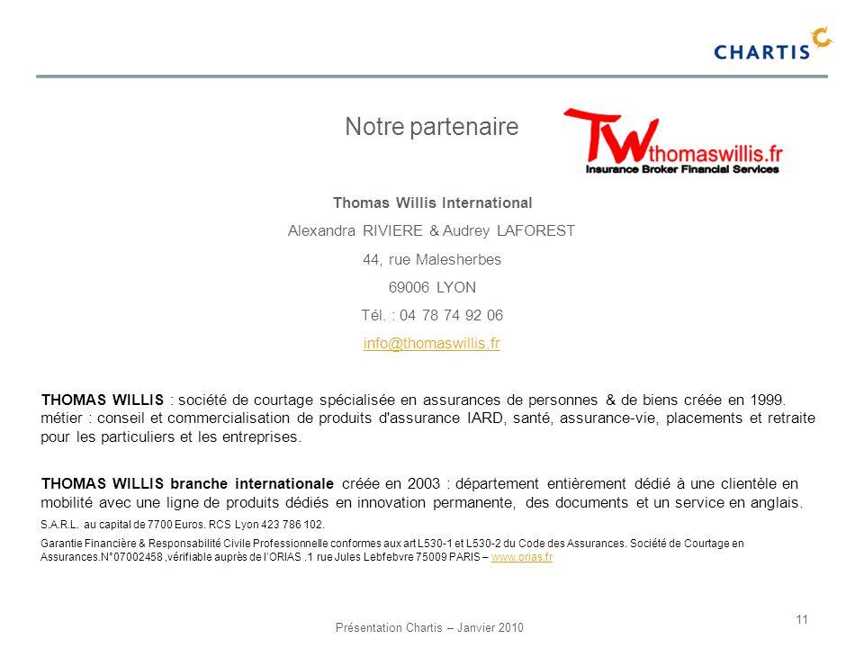Présentation Chartis – Janvier 2010 11 Notre partenaire Thomas Willis International Alexandra RIVIERE & Audrey LAFOREST 44, rue Malesherbes 69006 LYON