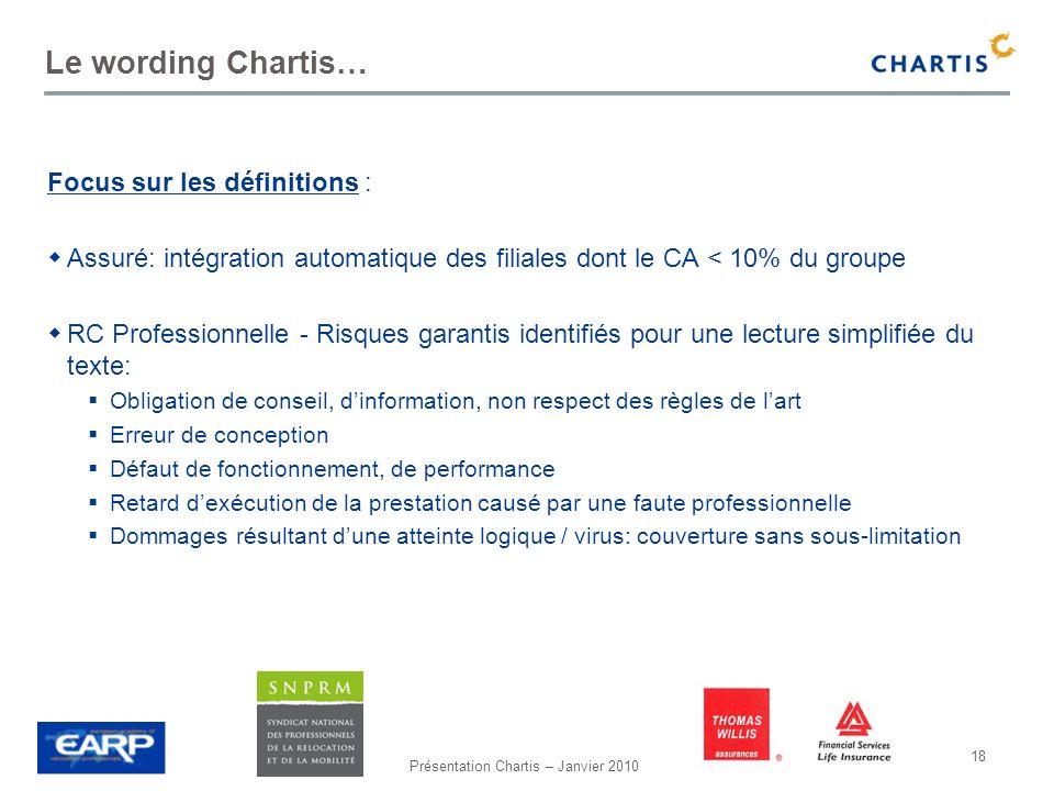 Présentation Chartis – Janvier 2010 18 Le wording Chartis… Focus sur les définitions : Assuré: intégration automatique des filiales dont le CA < 10% d
