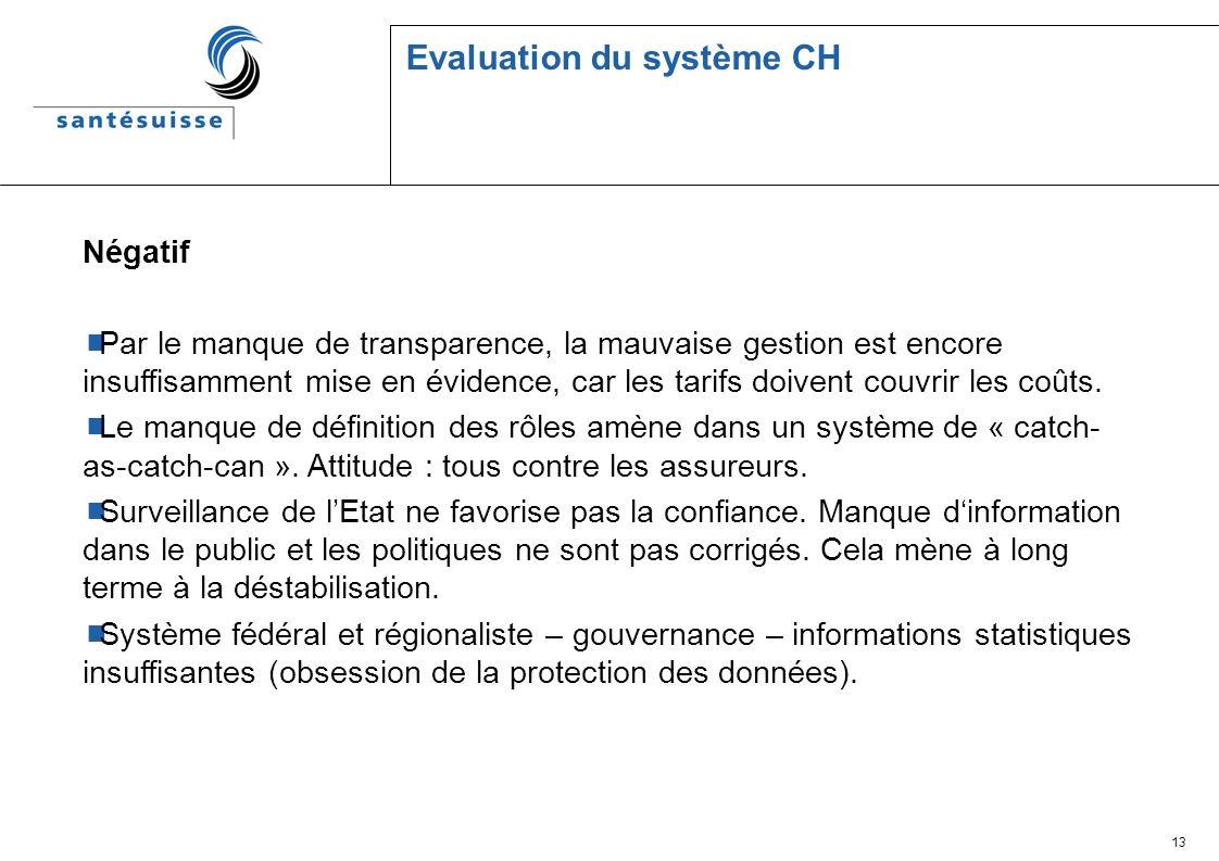 13 Evaluation du système CH Négatif Par le manque de transparence, la mauvaise gestion est encore insuffisamment mise en évidence, car les tarifs doivent couvrir les coûts.