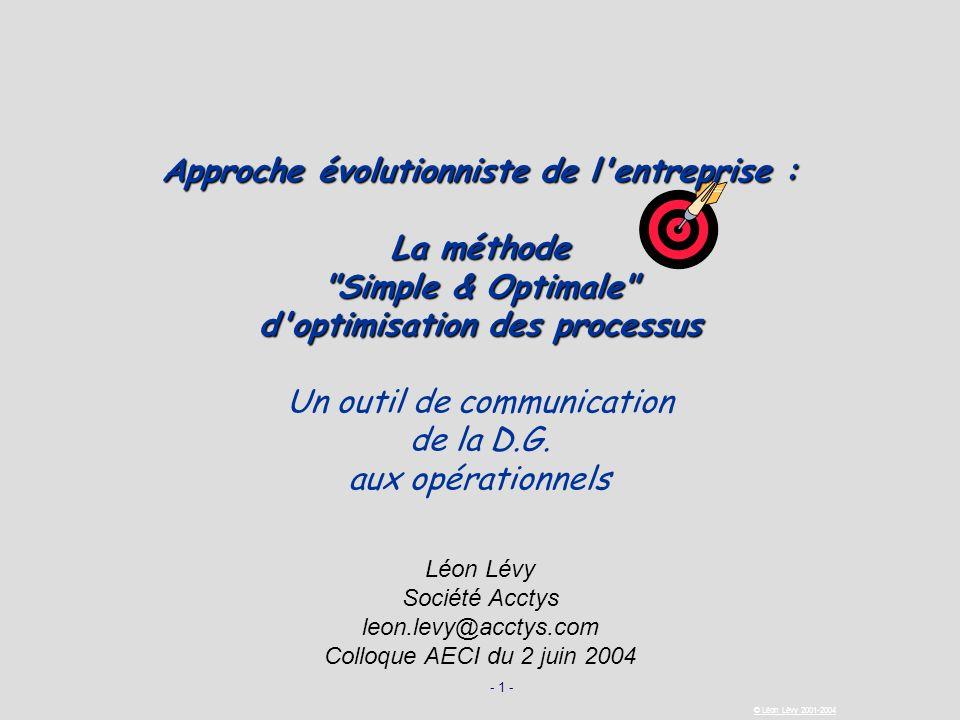 - 1 - © Léon Lévy 2001-2004 Approche évolutionniste de l'entreprise : La méthode