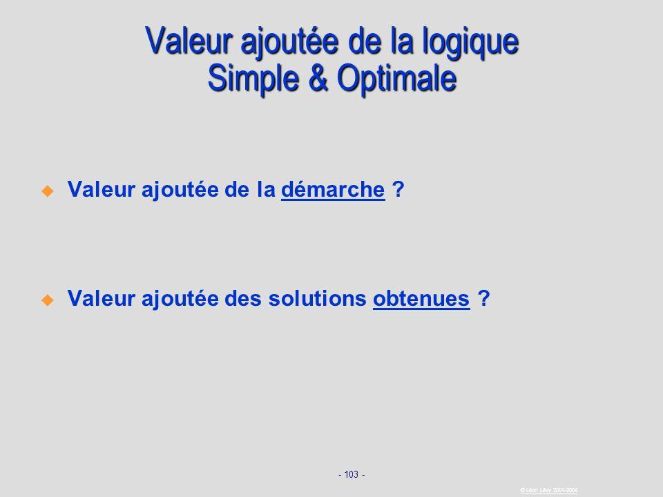 - 103 - © Léon Lévy 2001-2004 Valeur ajoutée de la logique Simple & Optimale Valeur ajoutée de la démarche ? Valeur ajoutée des solutions obtenues ?