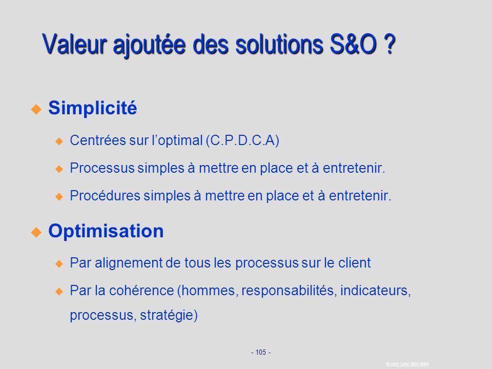 - 105 - © Léon Lévy 2001-2004 Valeur ajoutée des solutions S&O ? Simplicité u u Centrées sur loptimal (C.P.D.C.A) u u Processus simples à mettre en pl