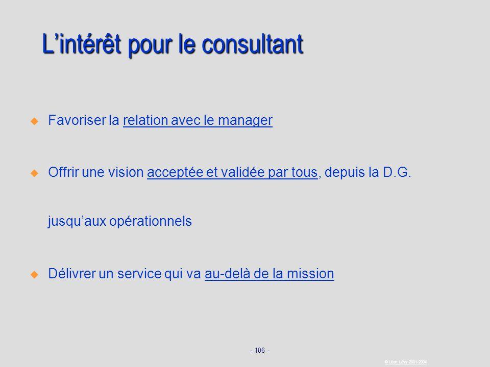 - 106 - © Léon Lévy 2001-2004 Lintérêt pour le consultant Favoriser la relation avec le manager Offrir une vision acceptée et validée par tous, depuis