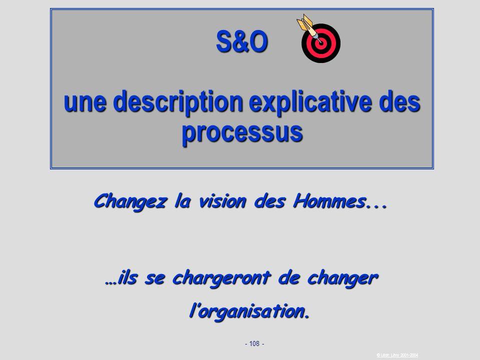 - 108 - © Léon Lévy 2001-2004 S&O une description explicative des processus Changez la vision des Hommes... …ils se chargeront de changer lorganisatio